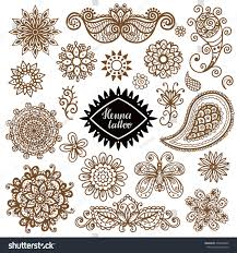 henna paisley set tribal stock vector 392480032