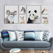 Kawaii Room Decor by 2018 Nordic Kawaii Animal Bubbles Panda Giraffe Dog Canvas A4 Art
