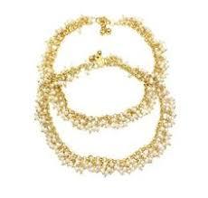 Buy Designer Gold Plated Golden Gold Plated Designer Pearl Kundan Anklet Payal Pair Anklets