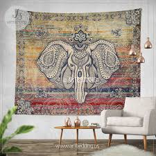 Wall Tapestry Hippie Bedroom Ethno Ganesh Wall Tapestry Elephant Head Wall Tapestry Hippie