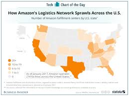 Amazon World Map by Number Of Amazon Fulfillment Centers In Us Chart Business Insider