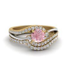 engagement and wedding ring set 2 tone swirl morganite with wedding ring set in 14k