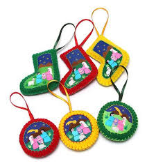 applique ornaments set of 6 handmade in peru