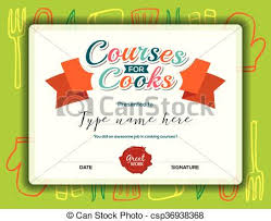 clip art vector of kids cooking courses certificate template