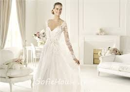 princess a line v neck keyhole back long sleeve lace wedding dress