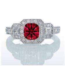 ruby engagement rings 2 carat princess cut trilogy ruby and diamond vintage halo