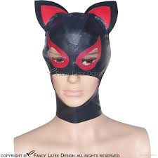 2017 black with red latex hoods with ears zip on back at back