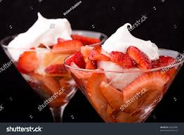 martini strawberry strawberry shortcake martini glass sponge cake stock photo