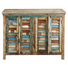 recycled wood recycled wood sideboard multicoloured w 120cm calanque maisons