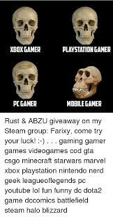 Pc Gamer Meme - xbox gamer gaming plus pc gamer playstation gamer mobile gamer rust