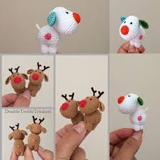 Knitted Reindeer Christmas Decorations by Cute Kawaii Mini Gift Or Decorations To Crochet The Snow Dog And