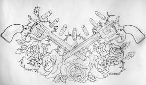 mexican skull and guns tattoo design