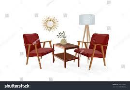 vector furniture illustration mid century modern stock vector