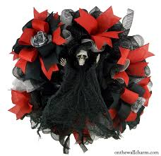 Black Halloween Wreath Don U0027t Fear The Reaper Halloween Wreath U2013 On The Wall Charm