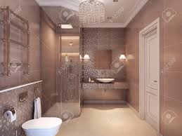 modern bathroom in the art deco style shower wc and sink