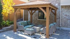 meridian 12 x 12 wood gazebo with aluminum roof yardistry