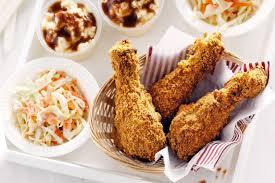 southern baked chicken with coleslaw mashed potato and gravy
