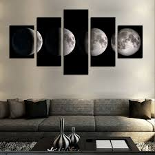 5 piece no frame moon modern home wall decor canvas picture art hd