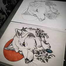 neo traditional wolf search tat