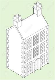 Three Story House by Isometric Drawing Of A Three Story Dolls House Royalty Free