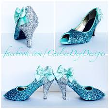 wedding shoes open toe glitter high heels royal blue robins egg white ombre peep toe