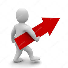 Big Red Flag Man With Big Red Up Pointing Arrow U2014 Stock Photo Skvoor 24900653