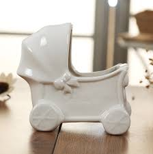 mini ceramics baby stroller model flower pot decorative porcelain