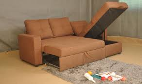 Under Sofa Storage by Small Fabric Sectional Couch With Pull Out Bed And Hidden Storage