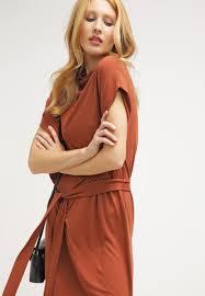 selected femme women dresses sfcelia jersey dress rustic brown