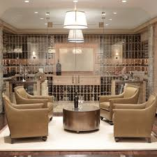 giannetti home chic basement wine cellar with seamless glass