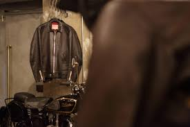 addict clothes x deus ex machina motorcycle leather jacket columnm