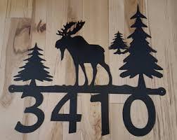 Christmas Moose Home Decor Moose Address Sign Etsy