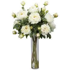 peony w cylinder silk flower arrangement nearly natural