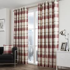 Curtains 90 Width 72 Drop Balmoral Check Eyelet Curtains In Ruby Free Uk Delivery Terrys
