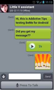 chat android beme android im with audio emoticon photo file