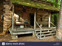 front porch of an old deer hunting cabin in the south georgia