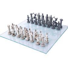 Glass Chess Boards Greek Mythology Gods Chess Set With Glass Board 3 3 4 Inch High