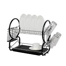 Dishes Rack Drainer Dish Drainer And Cutlery Rack Black Amazon Co Uk Kitchen U0026 Home