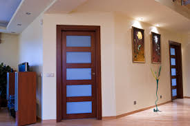 wood door with glass