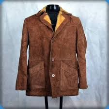 Leather Barn Coat Vtg Sherpa Lined Western Suede Leather Rancher Jacket Barn Coat