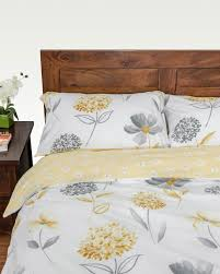 lemon white and grey floral duvet cover set homescapes