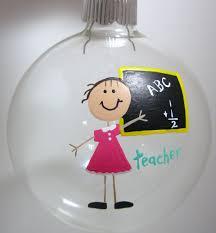 teacher christmas ornament handpainted personalized glass ball