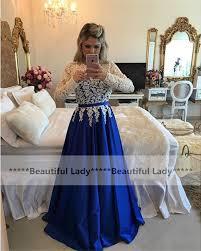 graceful lace satin long sleeve evening dress 2017 o neckline a