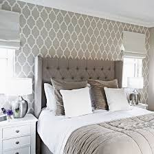 Traditional Grey Bedroom With Patterned Wallpaper And Headboard - Wallpaper design for bedroom