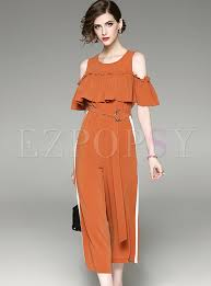 stylish jumpsuits stylish shoulder falbala jumpsuits ezpopsy com