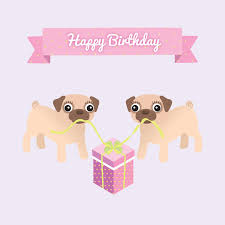 pug birthday card compatible cards