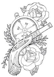 steampunk hat clock and banner tattoo designs