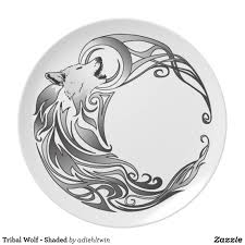 tribal wolf shaded melamine plate tribal wolf wolf and dinners