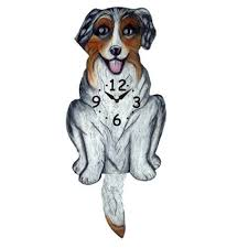 australian shepherd illustration australian shepherd dog wagging pendulum clock australian
