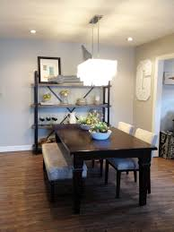 Dining Room Bench Seating Ideas Stunning Low Ceiling Light Above Large Rectangle Black Wood Dining